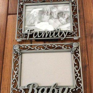 "Lot of 2 4x6 ""Family"" and ""Baby"" Picture Frames"